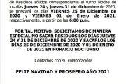 Cambios en la recolección 24 y 31 de Diciembre 2020
